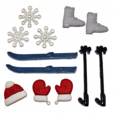 Dress It Up Shaped Novelty Button Packs - Skiing