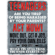 Teenagers -  Small (150 x 200mm) Metal Sign