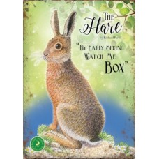 The Hare-  Small (150 x 200mm) Metal Sign -  By early spring watch me box