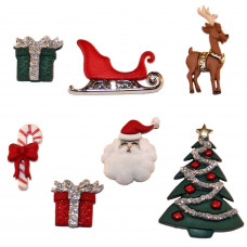 Dress It Up Shaped Novelty Button Packs - Christmas Eve