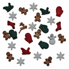 Dress It Up Shaped Novelty Button Packs - Christmas Miniatures