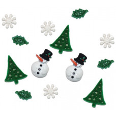 Dress It Up Shaped Novelty Button Packs - Christmas Past